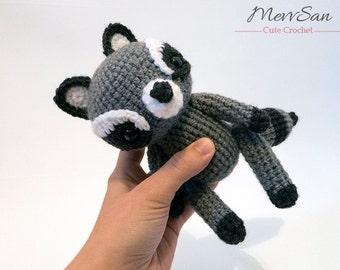 MADE to ORDER - Amigurumi Woodland Critter Raccoon - crochet animal plush, amigurumi raccoon toy, raccoon plush, crochet raccoon doll