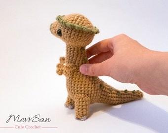 MADE to ORDER - Amigurumi Pachycephalosaurus Dinosaur - amigurumi dinosaur plush, crochet dinosaur toy, prehistoric softie, crochet plush