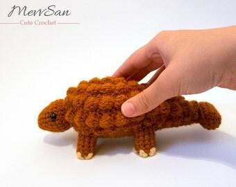 MADE to ORDER - Amigurumi Ankylosaurus Dinosaur - amigurumi dinosaur plush, crochet dinosaur toy, prehistoric softie