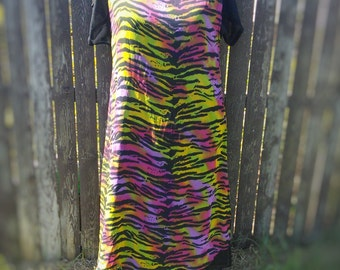 VINTAGE 90s Psychedelic Neon Zebra Long Layered Dress S/S Size XL