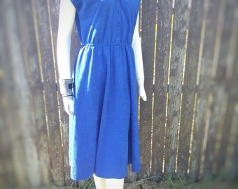 VINTAGE 80s Cobalt Blue Prairie Dress Frills Girly Country Western