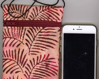 Cell Phone & Passport Bag - Quilted Cotton - Maroon and pink batik - Long strap - Fits iphone