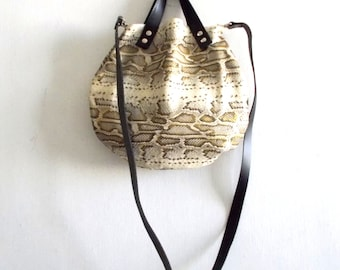 Snake  Pattern Leather basket hand bag ,Cross-body Bag, Every day leather bag