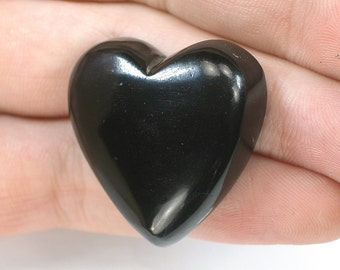 DVH Russian Jet Polished Heart Cabochon Mourning Gem 29x28x10 (6573)