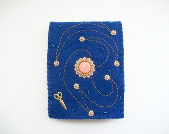 Needle Book Dark Blue Felt Needle Keeper with Bead Embroidery and Swirls Hand Embroidered Handsewn