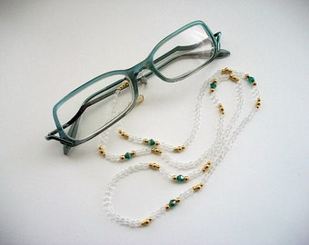 Eyeglass Necklace Beaded Holder with Crystal Clear Beads and Teal Swarovski Crystal Bicones