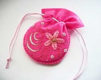 Jewelry Pouch Hot Pink Felt Gift Bag with Hand Bead Embroidery and Hand Embroidered Felt Flower, Swirls and Dots Handsewn