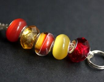 Badge Lanyard. Red Lanyard. Badge Holder. Yellow Lanyard. Id Lanyard. Sunset Lanyard. Beaded Lanyard. Badge Necklace. Lampwork Glass Lanyard