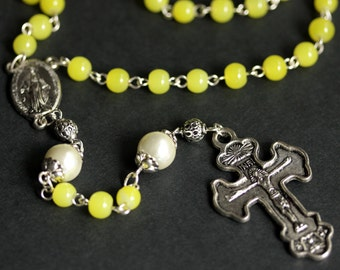 Holy Rosary. Bright Yellow Rosary. Glass Pearl Rosary. Silver Rosary. Neon Yellow Rosary. Handmade Rosary Necklace.