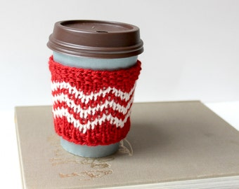 Knit Cup Sweater, Festive Drink Cover, Hot Cup Cozy, Coffee Cup Sleeve, Wool Cup Cover, Knitted Coffee Cozy, Red and White, Stocking Stuffer
