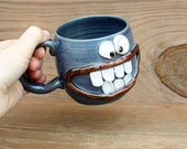 Crazy Happy Smiley Face Mug Googly Eyes Funny Coffee Cups. Blue Stoneware Pottery Mug. Unique Cool Coffee Cups. Handmade. Great Man Gift.