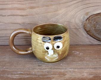 Cute Coffee Cups. Warm Honey Caramel. Uncommon Face Mugs. American Handmade Stoneware Pottery Mug. 12 Oz Coffee Cups.