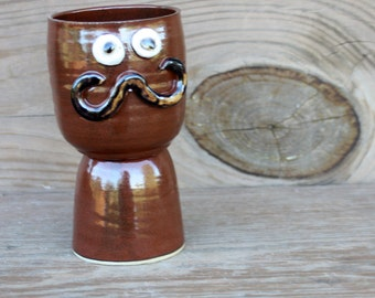 Wine Glass. Witty Wine Lover's Gift. Stoneware Clay Goblet. Ceramic Pottery Chalice. Handlebar Mustache. Rustic Red Brown Earth Tones.