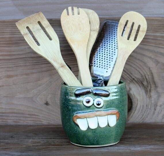 Stoneware pottery kitchen utensil holder frosty by nelsonstudio - Unique kitchen utensil holder ...