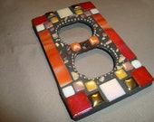MOSAIC Electrical Outlet COVER , Wall Plate, Wall Art, Red, Orange, Gold Silver