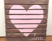 Love Wedding Sign, Reclaimed Redwood, Handpainted Heart, Rustic Barn Wedding Decoration, Reception Sign, Wall Art