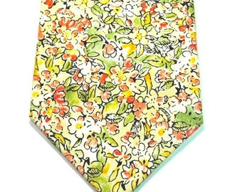 Yellow Necktie Yellow Floral Neckties Mens Neckties Neckties Custom Cotton Neckties