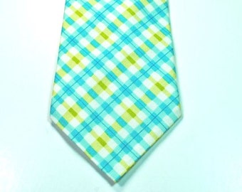 Aqua Neckties Aqua Plaid Necktie Mens Neckties Custom Neckties Aqua and Lime Necktie