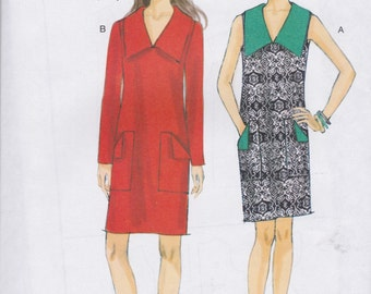 Vogue Pattern V9147 Very Easy Lined Pullover V-Neck Shift Dress with Wide Collar, Patch Pockets, and Sleeve Variations Misses' Sizes 6 - 14