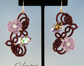 Leilani , needle tatted earrings pattern