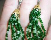vintage tiny green beads hoop loops dangle and drop pierced earrings 515C