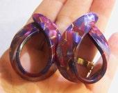 vintage large purple and burgandy weird hoop loop wide pierced earrings 615C1