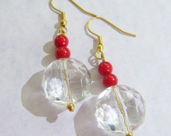 vintage clear and red bead dangle and drop pierced earrings 515C