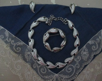 Signed Vintage Coro Silver Jewelry Set