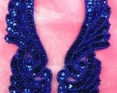 "JB241 Sequin Appliques MIRROR PAIR Blue Wings Patch 7""  (JB241X-bl)"
