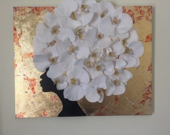 Silhouette African painting with orchids 3D art gold leaf art 16 x 20 African art african lady