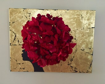 Silhouette African painting  3D art gold leaf art 18 x 24 African art african lady flower art 3D african painting