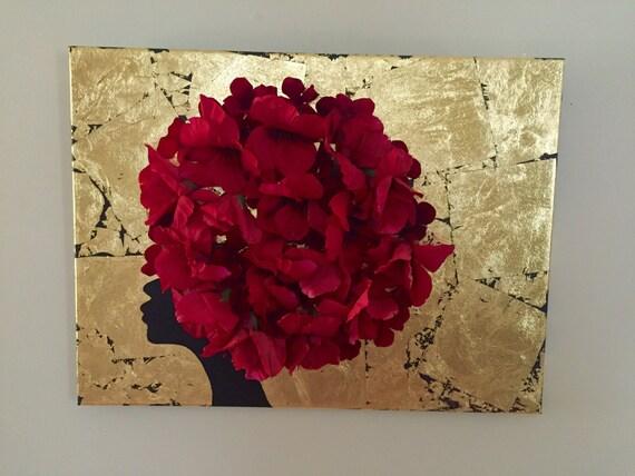 Silhouette africaine peinture 3D art feuille d'or art 18 x 24 art africain africain Dame fleur art 3D africain