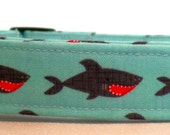 Styling and Smiling Sharks on Light Aqua Blue Nautica Shark Dog Collar