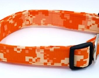 Bright Orange Digital Camo Camouflage Military Dog Collar