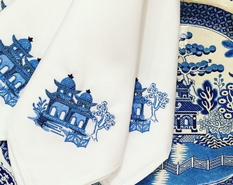 Blue Embroidered Chinoiserie dinner napkins