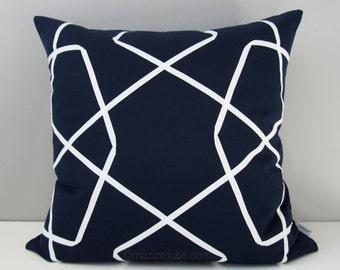 NAVY Blue & White Outdoor Pillow Cover, Modern Geometric Throw Pillow Case, Decorative Pillow Case, Nautical Lattice Sunbrella Cushion Cover