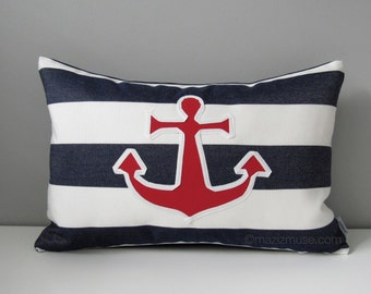 "SALE - Nautical Anchor Outdoor Pillow Cover, Decorative Pillow Case, Modern Red White Navy Blue Striped Sunbrella Cushion Cover 12""x18"""