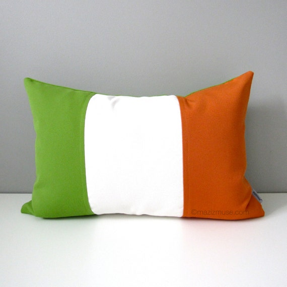 "Irish Flag Pillow Cover, Ireland, St. Patrick's Day, Lime Green Orange, National Flag Outdoor Sunbrella Cushion Cover 12""x18"""