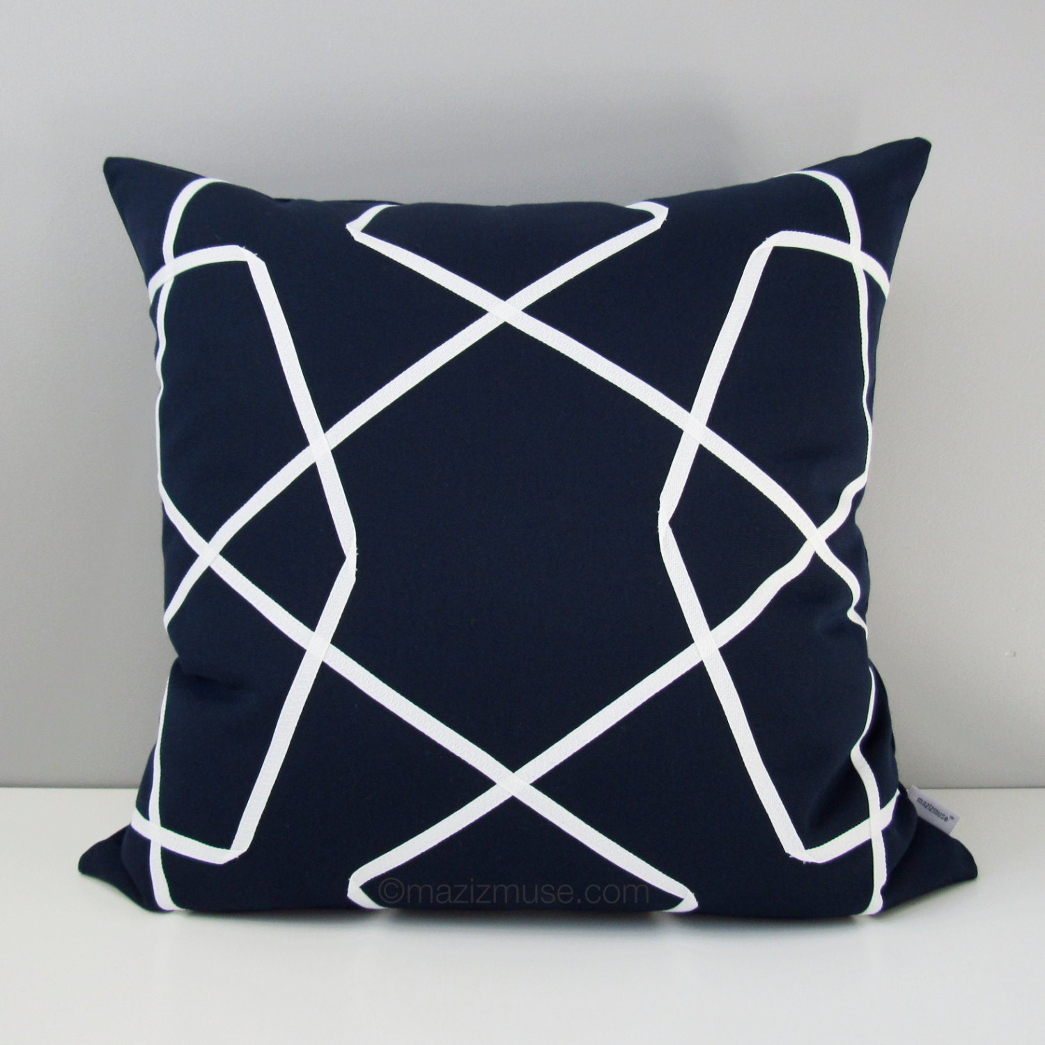 NAVY Blue & White Outdoor Pillow Cover Modern Geometric Throw
