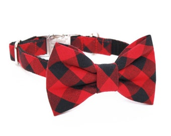 Red and Black Buffalo Plaid Adjustable Bow Tie Dog Collar- Bow Tie Dog Collar- Dog Collar