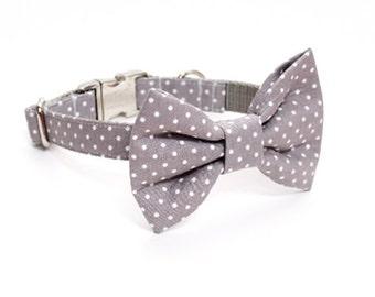 Gray Polka Dot Adjustable Bow Tie Dog Collar- Dog Collar