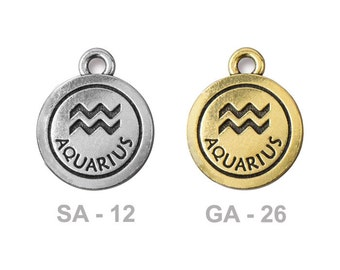 TierraCast Aquarius Pewter Charm - choose from antique silver or gold - astrology zodiac sign for water bearer - birthdays Jan 20 to Feb 19