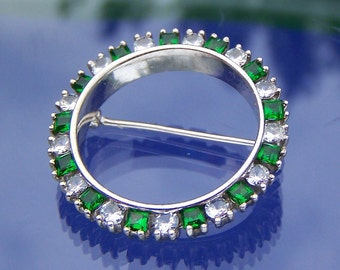 Brooch Pin Sterling Silver Circle with Alternating Green and Colorless Stones Vintage Jewelry See Shop Announcement for Coupon Code