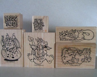 Stampin' Up Darling Dragons wood mounted rubber stamp set of 6