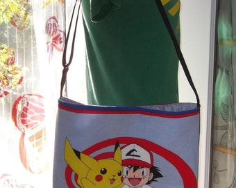 Pokemon Slouch Bag --   Meduim Sized  90s  XL  Cross- Body Adjustable  Ash Pikachu  Vintage