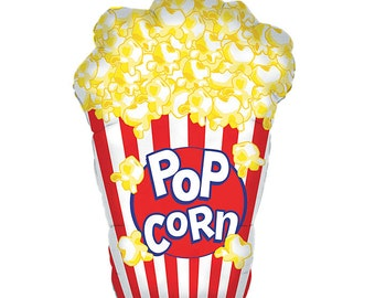 "Popcorn Balloon, Giant Balloon, Popcorn, Movie Night, 38"" Balloon, Party, Mylar Foil Balloon"