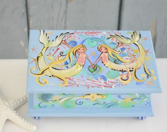 Twin Pisces Mermaids Hand painted periwinkle blue Mermaid box with ball feet and quote inside - ocean, starfish  jewelry or trinket box