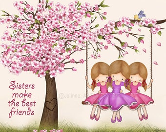 Cherry blossom kids art poster,Sisters make the best friends girls room three sisters art print, sisters room,twin girls art,art for nursery