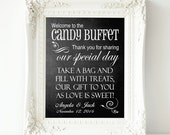 Chalkboard Candy Buffet Wedding Personalized Sign - Printable file - Candy Bar Buffet, Welcome to the Candy Buffet Wedding