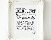 Lolly Buffet Sign, Welcome to the Lolly Buffet Wedding Sign-PRINTABLE Instant Download, Sweets Table,Lolly Bar Sign, Lolly Table, 2 Versions